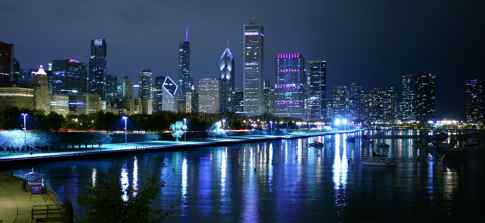 Chicago night landscape royalty free stock images