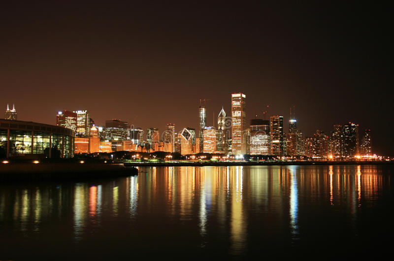 Chicago Night Scene stock image