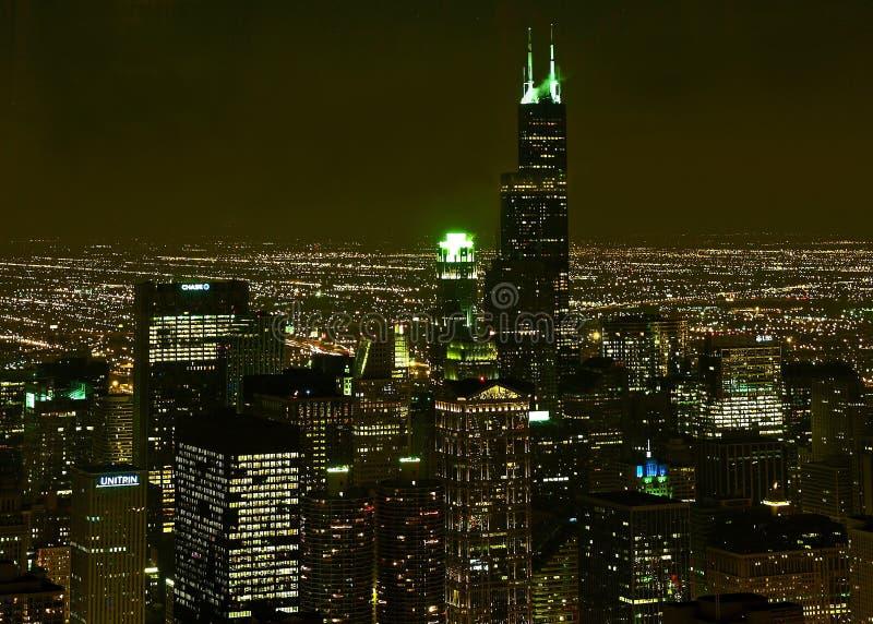 Chicago night scene stock photography