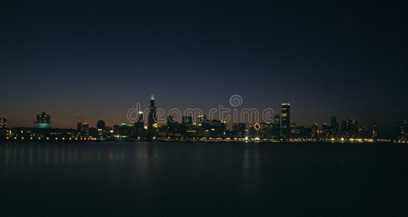 Download Chicago night skyline stock photo. Image of skyline, water - 189980