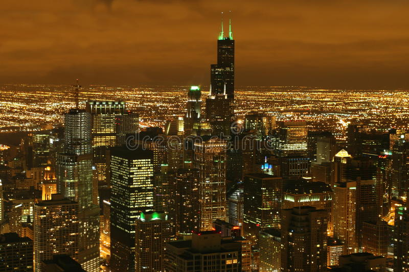 Download Chicago Night Skyline stock photo. Image of long, exposure - 9923206