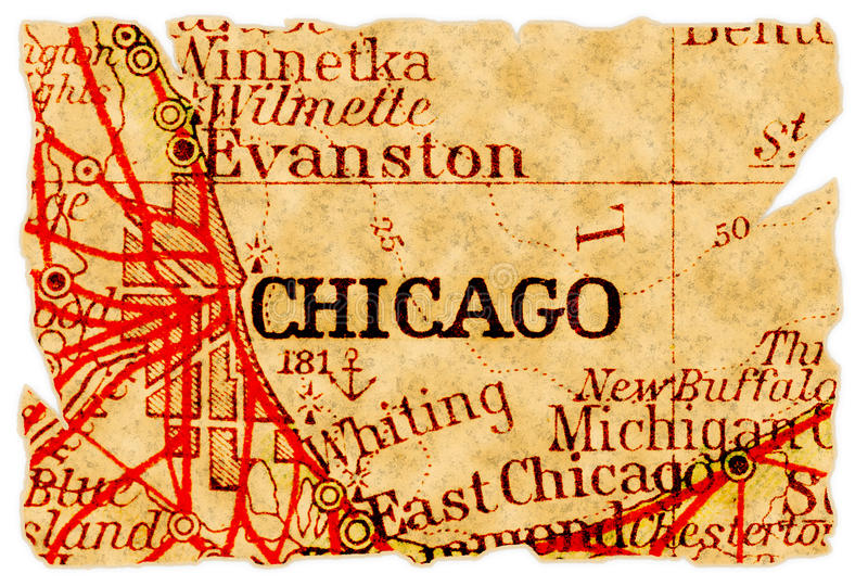 Chicago old map royalty free stock photography