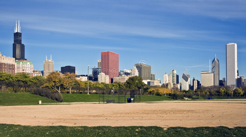 chicago panorama arkivfoton