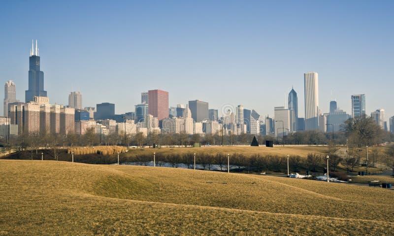 chicago panorama winter στοκ φωτογραφία με δικαίωμα ελεύθερης χρήσης