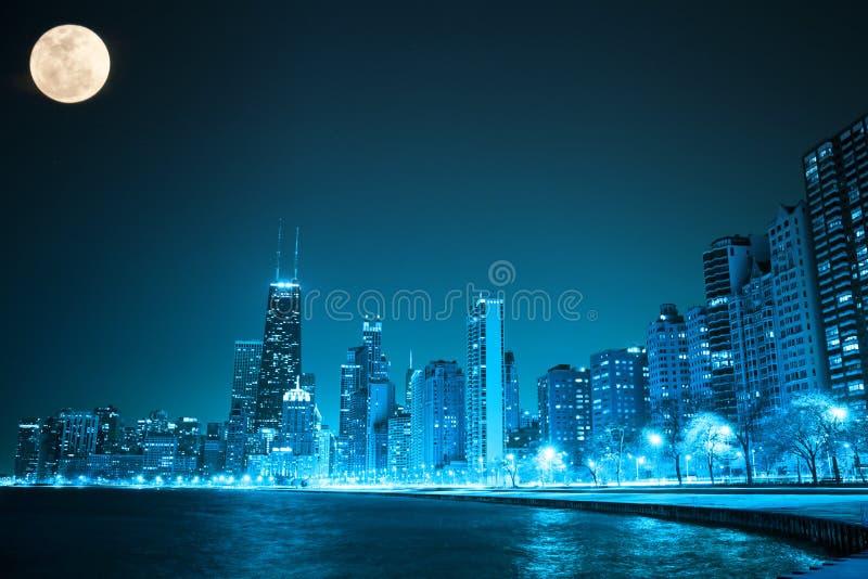 Chicago par nuit image stock