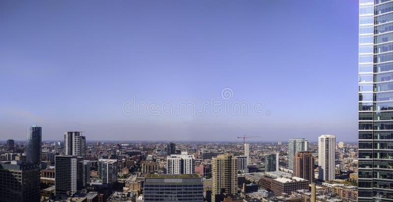 Chicago perto do lado oeste, incluindo Fulton Market Panorama aéreo, arquitetura da cidade EUA imagem de stock