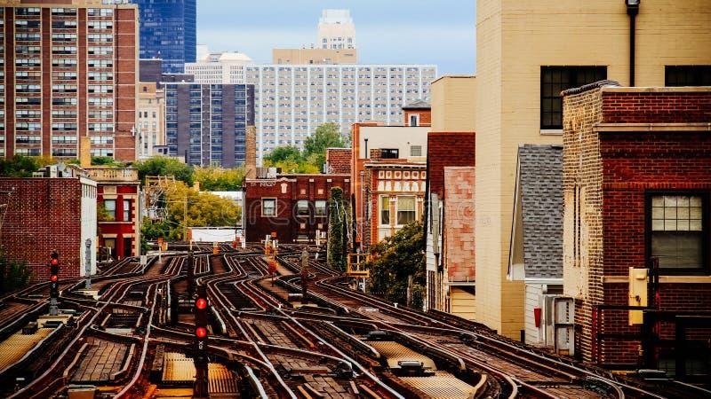 Chicago pociąg Tropi Miastowego zdjęcia stock