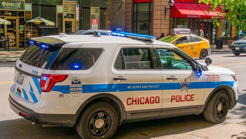 Chicago-Polizei Motor- CHICAGO, USA - 12. JUNI 2019 lizenzfreie stockfotos