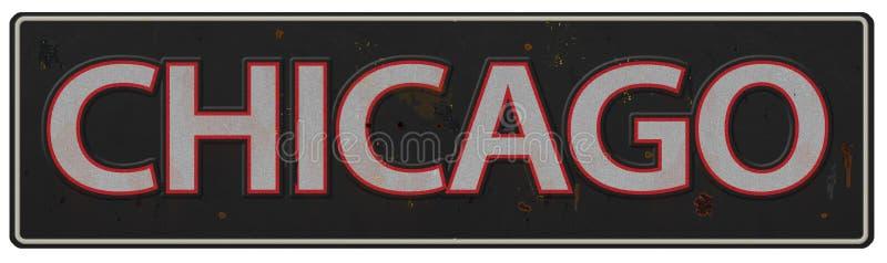 Chicago que rotula o QUI velho do vintage da rua do sinal ilustração stock