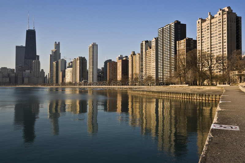 Download Chicago Reflected In Lake Michigan Stock Photo - Image: 7275808
