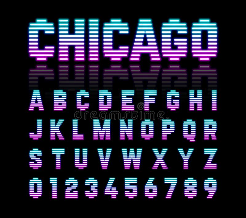 Chicago, retro de gloedlettersoort van de stijlt. l.-buis vector illustratie