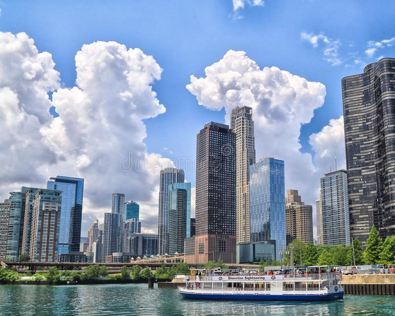 Chicago River architecture boat tour royalty free stock images