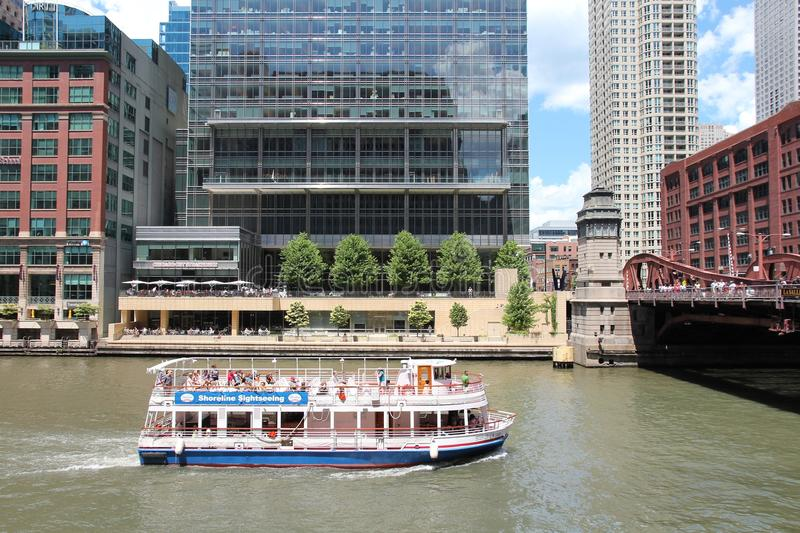 Chicago river boat stock image