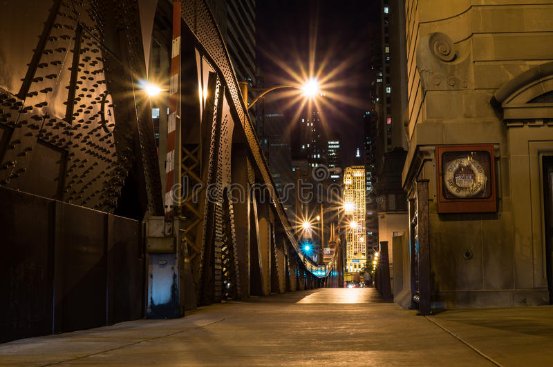 Chicago River Bridge at Night. View across Chicago River Bridge stock photography