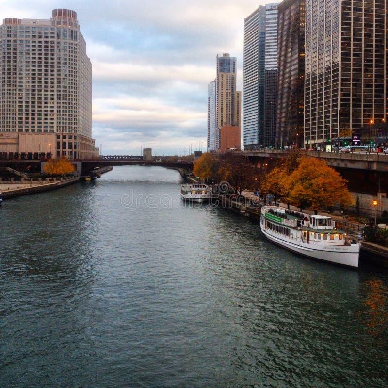 Chicago River city walk stock photos