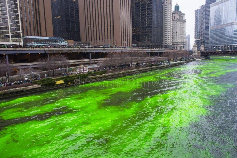 Chicago River färgade gräsplan royaltyfria bilder