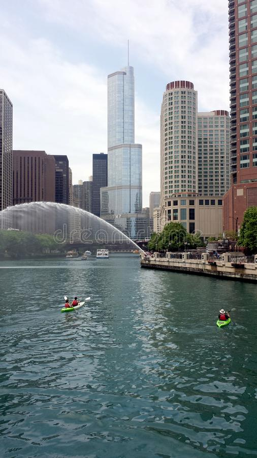 Chicago river with kayaks stock image