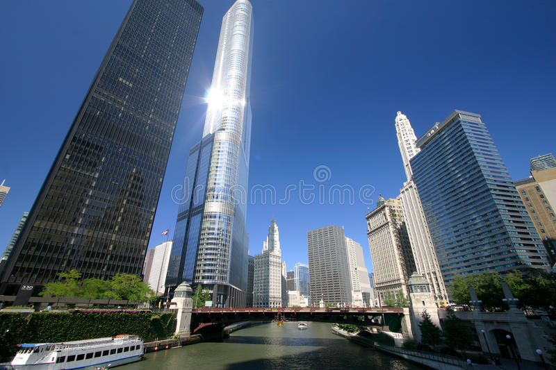 Chicago River on a Sunny Day royalty free stock photography