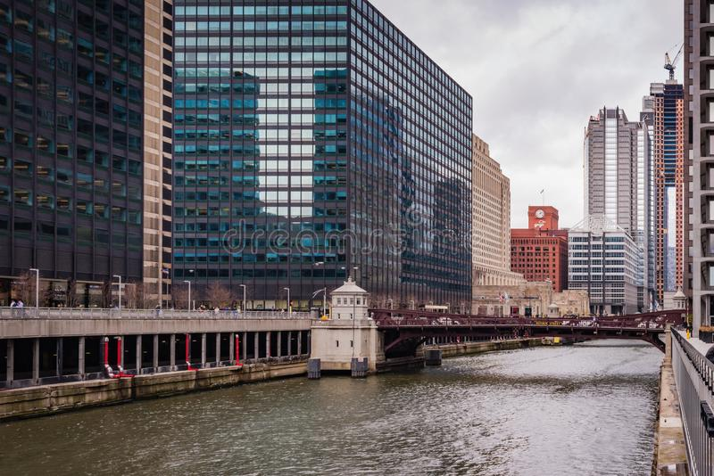 Chicago Riverwalk Cityscape. Chicago, Illinois / USA / March 31, 2016: Modern skyscrapers and historic bridges on pedestrian waterfront in Chicago Second royalty free stock images