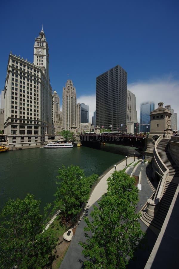 Chicago riverwalk stockbilder