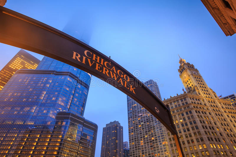 Chicago Riverwalk sign royalty free stock photos