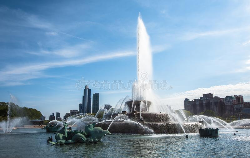Chicago`s Buckingham Fountain, Millenium Park. Chicago`s Buckingham Fountain, one of the largest in the world, in the windy city`s Grant Park on a beautiful royalty free stock image