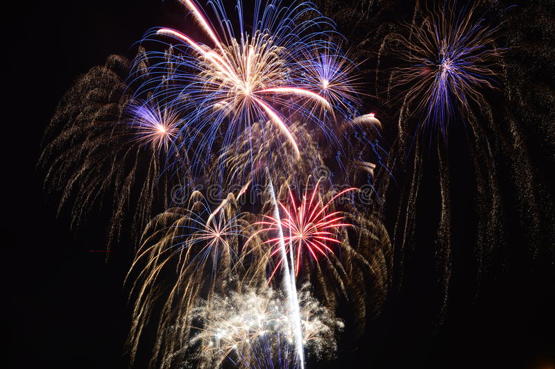 Chicago, S 1° gennaio 2017 Fuochi d'artificio al pilastro della marina a welcom immagine stock libera da diritti