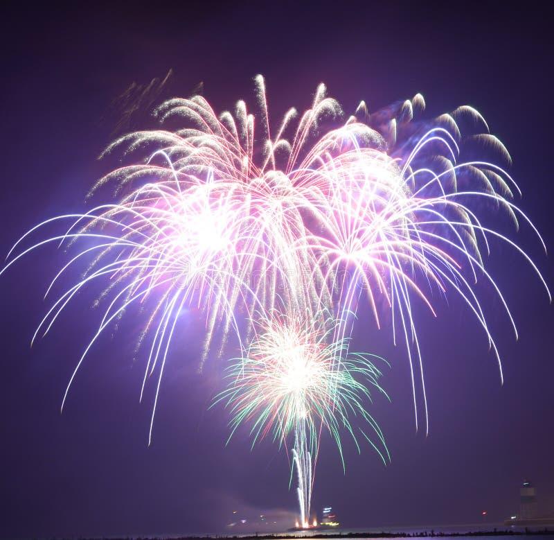 Chicago, S 1° gennaio 2017 Fuochi d'artificio al pilastro della marina a welcom fotografia stock