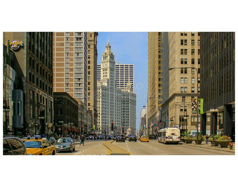 Chicago`s Michigan Avenue and Wrigley building from south of the river royalty free stock photos