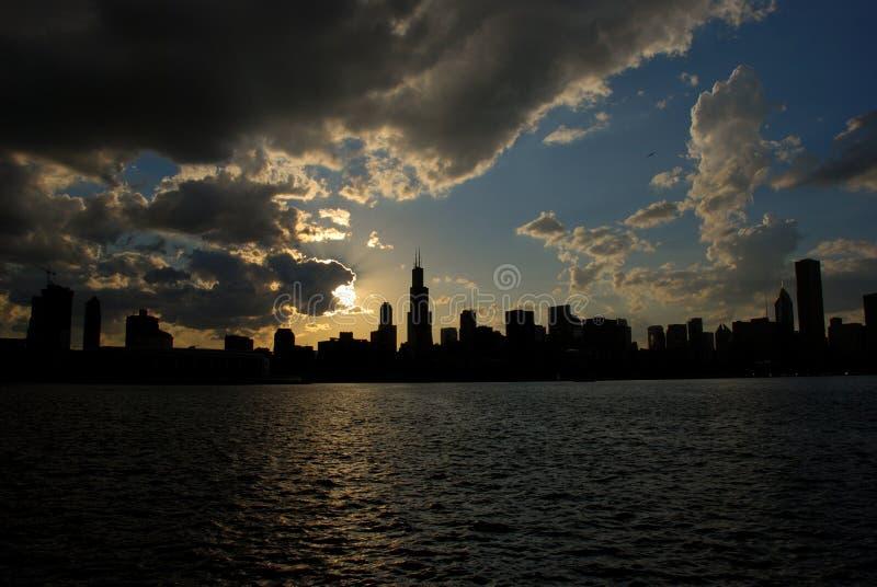 chicago silhouette arkivbild