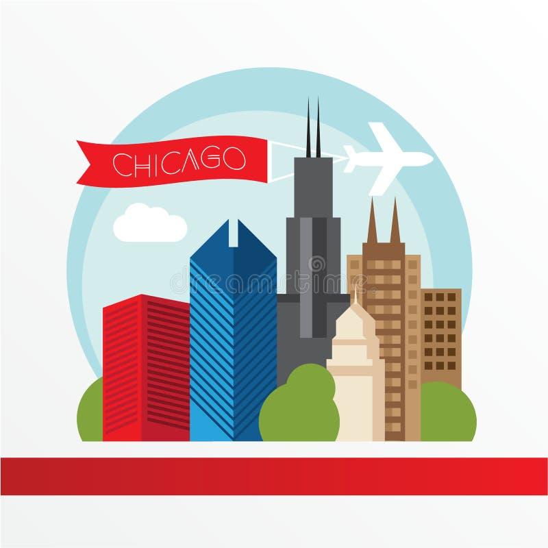 Chicago, silhueta detalhada Ilustração na moda do vetor, estilo liso Marcos coloridos à moda ilustração stock