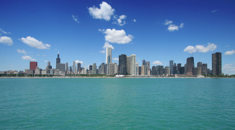 Chicago skyline. Wide angle view royalty free stock image