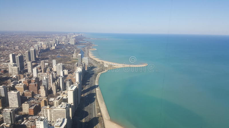Chicago skyline. From above stock image