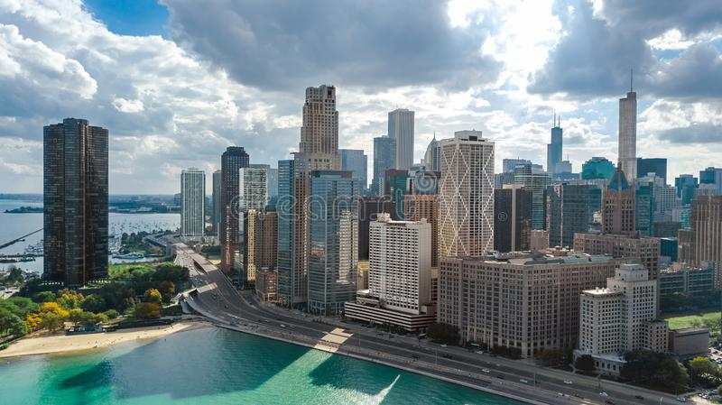 Chicago skyline aerial drone view from above, lake Michigan and Chicago downtown skyscrapers cityscape, Illinois, USA stock image