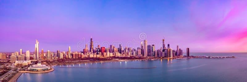 Chicago Skyline Aerial Sunrise Sunset Cityscape Panorama stock photo