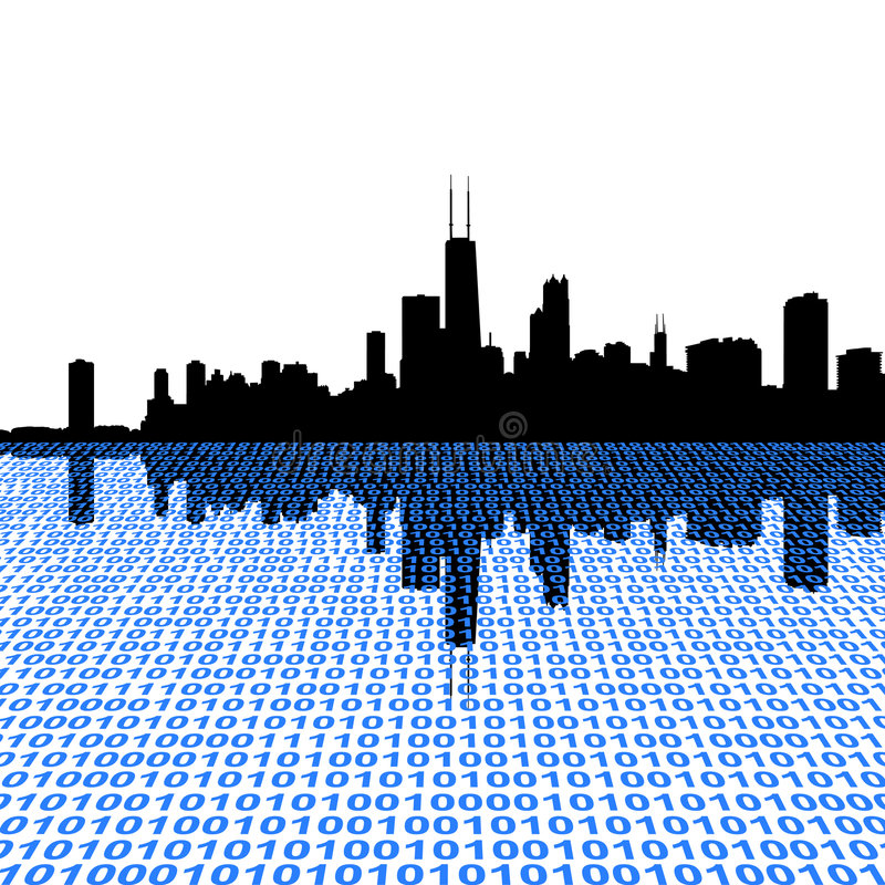 Download Chicago Skyline With Binary Stock Vector - Image: 8408937