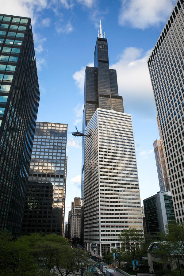 Chicago skyline with Blackhawk Helicopters royalty free stock photography