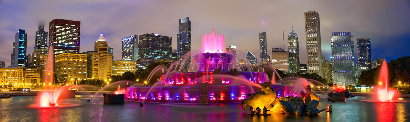 Chicago skyline and Buckingham Fountain. Chicago skyline panorama with Buckingham Fountain at night, United States stock image