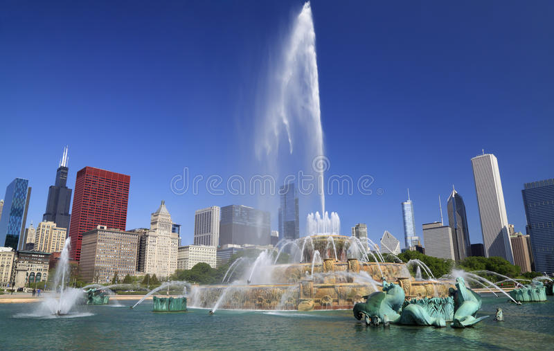 Chicago skyline and Buckingham Fountain. USA stock images