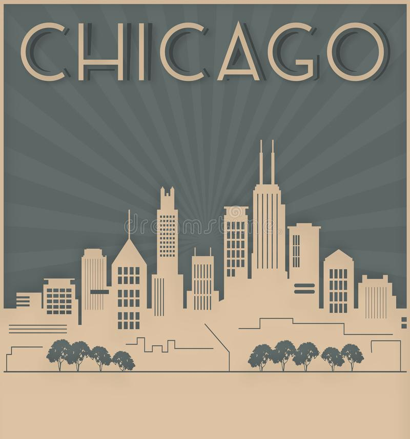 Chicago Skyline Card Art Deco Style royalty free illustration