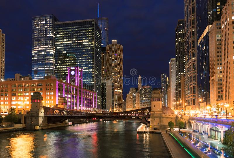 Chicago Skyline, skyscraper and river at night stock photo