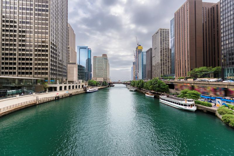 Chicago downtown and Chicago River. Chicago Skyline. Chicago downtown and Chicago River with bridges at summer day royalty free stock images
