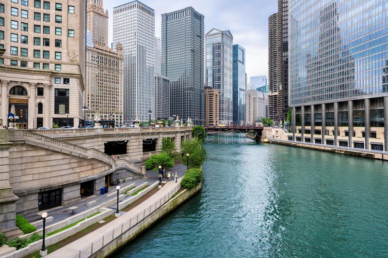 Chicago downtown and Chicago River. Chicago Skyline. Chicago downtown and Chicago River with bridges at summer day royalty free stock photos