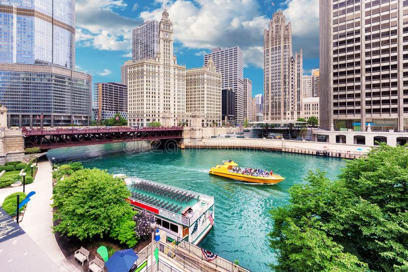 Chicago downtown and Chicago River. Chicago Skyline. Chicago downtown and Chicago River with bridges at summer day stock photo
