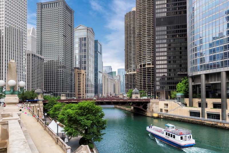 Chicago downtown and Chicago River at summertime. Chicago Skyline. Chicago downtown and Chicago River with bridges during sunny day stock photography
