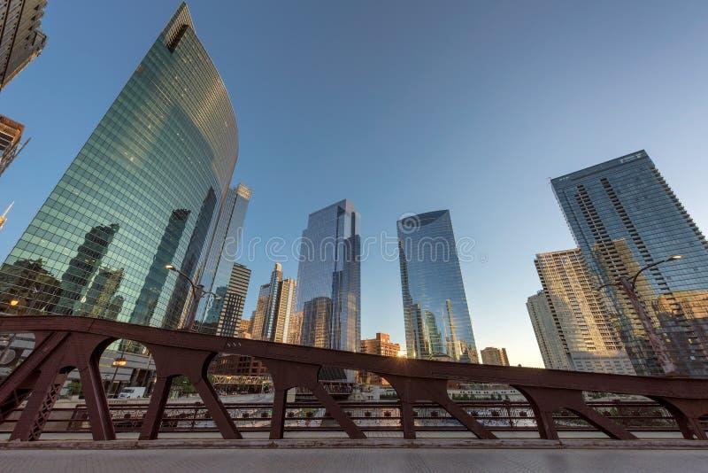 Chicago skyline at sunset stock image