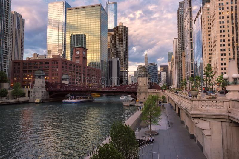 Chicago Skyline, skyscraper and river at sunset royalty free stock photo
