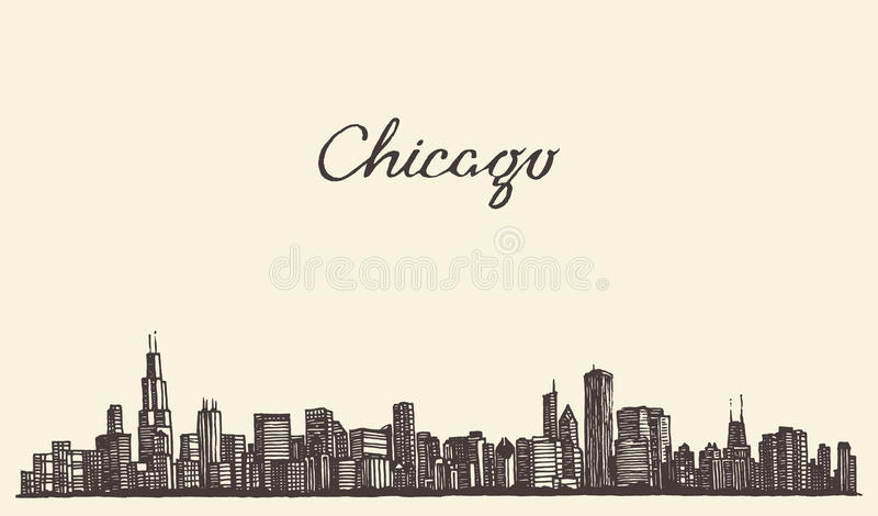 Chicago skyline city engraving vector illustration. Chicago skyline big city architecture engraving vector illustration hand drawn royalty free illustration