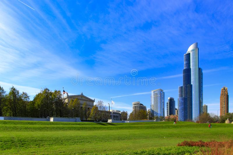 Chicago skyline with clear blue sky from south stock photos