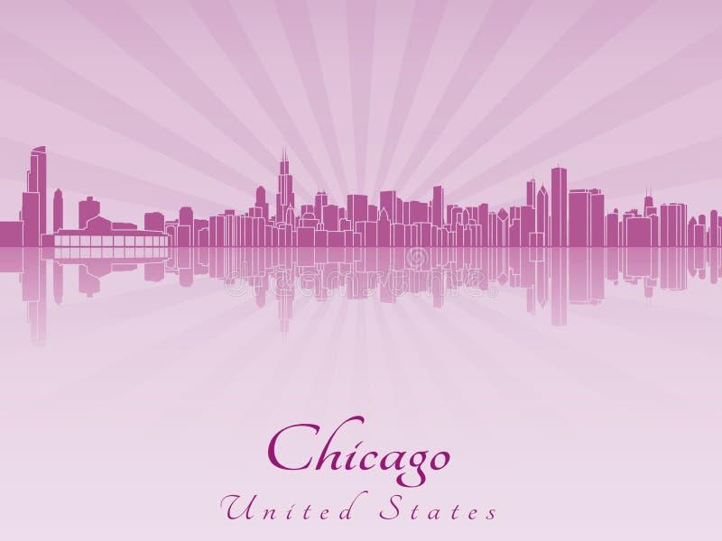 Chicago-Skyline in der purpurroten leuchtenden Orchidee lizenzfreie abbildung